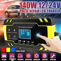 12/24V 8A Intelligent Pulse Repair LCD Car Battery Charger Starter Motorcycle