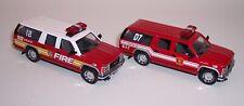 TWO CODE 3 COLLECTIBLES F.D.N.Y NEW YORK & BOSTON GMC YUKON XL FIRE SUVs MINT