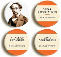 CHARLES DICKENS BADGE BUTTON PIN SET (Size is 1inch/25mm diameter) VICTORIAN