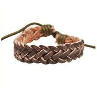 Premium Quality Mens Brown Leather Braided Band Bracelet Wristband