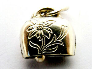 Cow bell vintage silver charm with clacker and picture of a flower