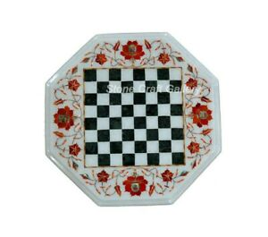 """12"""" marble Chess Table top semi precious stones floral Inlay work handmade"""