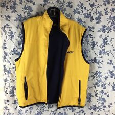 AE77 Performance Medium Blue Fleece Yellow Windbreaker Vest Reversable Zip Pocke