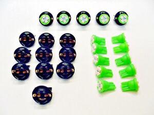 "15 Green 4 LEDs Light Bulbs 1/2"" Sockets Side Marker License Plate Dash Ford 194"