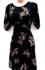 E-vie SIZE 16 TEA DRESS STRETCH JERSEY BLACK FLORAL TIE BACK BELT 40's St US 12