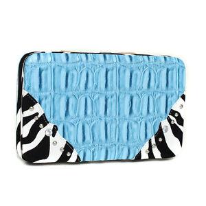 Women's' Western Croco Embossed Zebra Trim Blue Wallet