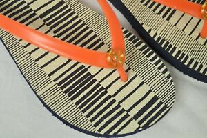 Tory Burch Shoes Sandals Flip Flops Rubber Tiger Lily Med Stripe Combo thin