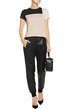 Vince Mixed Media Leather/Crepe Trousers Jogger Pants XXS NWT V240521071