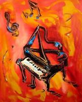 MUSIC Jazz PIANO  Mark Kazav  Abstract Modern CANVAS Original Oil Painting YRTH