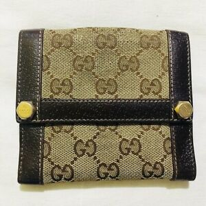 Gucci Compact Wallet in canvas and brown leather trimming