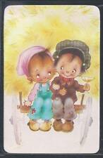 #920.372 Blank Back Swap Cards -MINT- Boy & Girl on hay cart