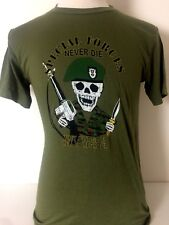 DEADSTOCK Vtg 80's Special Forces Never Die...Go To HELL To Regroup T Shirt Sz M