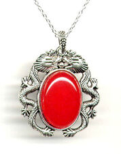 Genuine RED JADE Antique Silver Dragon Pendant Necklace *925 STERLING CHAIN