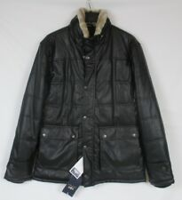 NWT Mens 2XL EMPORIO & CO Italy Black Faux Leather Jacket Coat Faux Fur Collar