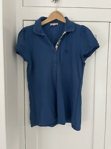 Burberry London Polo Top T Shirt Blue Collared (size UK 14) - So Nice!! Large