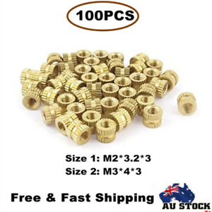 100Pcs M2/M3 Metric Threaded Round Brass Knurl Thread Insert Nuts Tone AU