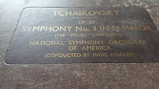 TCHAIKOVSKY SYMPHONY NO3 IN D MAJOR NATIONAL SYMPHONY OF AMERICA HANS KINDLER