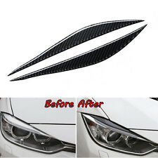 2x Real Carbon Fiber Headlight Eyebrow Cover Trim For 2013-2017 BMW 3 Series F30