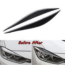 Carbon Fiber Headlight Eyelid Eyebrow Cover Trim For BMW 3 Series F30 2012-2018