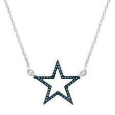 0.10 CT Blue Plated 10K White Gold Round Blue Diamond Star Fashion Pendant