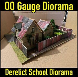 Model Railway OO Gauge Derelict / Boarded Up School Diorama - Lots of Details