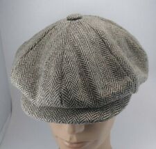 aa99d7e1465 PIERRE CARDIN Brown Wool Blend Herring bone Newsboy Cabbie Driving Cap Hat