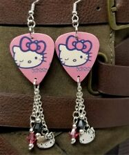 28d3862e8 Pink Hello Kitty Guitar Pick Earrings with Charm and Swarovski Crystal  Dangles