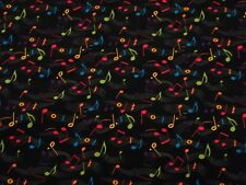 BTY MUSICAL NOTES on Black Print 100% Cotton Quilt Craft Fabric by YARD
