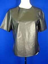 VINCE Weightless Soft Stretchable Black Leather NWT Boxy Top T-shirt M