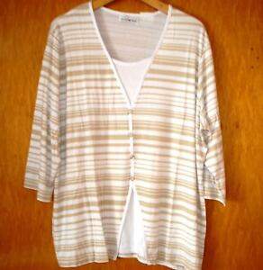 Stretch 2-in-1 Shirt gestreift,creme/beige,v.Helena Vera,Gr.50,3/4 Arm, Neu