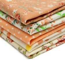 5PCS Assorted Pre-Cut Fat Quarters Bundle Cotton Quilt Fabric Patchwork Orange