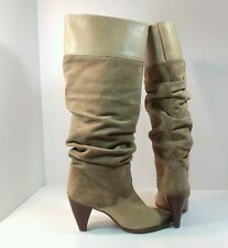Vtg Women's Zodiac Slouch Boots Size 7 Tan Suede Leather