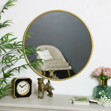 Round metallic gold wall mounted mirror vintage shabby chic home decor display