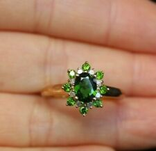 New 10K Sz 7 1.2ct Chrome Diopside & Diamond Flower Engagement Ring Yellow Gold