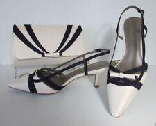 Jacques Vert Ivory ~ Dark Purple ~ Strippy Bow Trim Shoes & Matching Bag  NEW 6