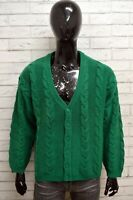 Cardigan Uomo BENETTON Taglia Size 50 Pullover Sweater Man Lana Verde Vintage