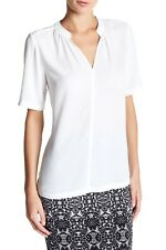 NYDJ Georgette Blouse L Optic White Not Your Daughter Jeans Short Sleeve NWT $88