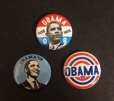 Lot of (3) 2008 Barack Obama Official Campaign Buttons Lapel Pins