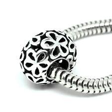 FLOWERS filigree rondelle - Solid 925 sterling silver European charm bead