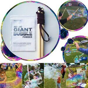 Giant Bubble Wand Starter Kit Set Big Jumbo Bubbles / Refill Solution Mix 1-25L