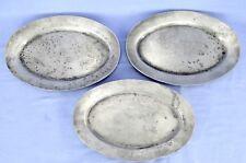 Set of 3 Vintage Oval Pewter Light Metal Serving Plates Made in Japan