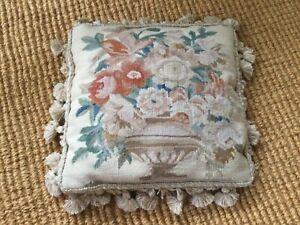 Aubusson needlepoint tasseled Cushion