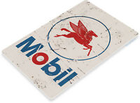 TIN SIGN Mobil Logo Rust Auto Shop Grease Art Gas Oil Garage Station Pump B072