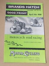 Brands Hatch MOTO ROAD RACE programma 1958