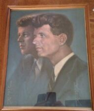 JFK & RFK KENNEDY BROTHERS 1968 UNITED BY ALTON TOBEY SIGNED & FRAME