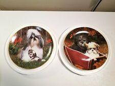 Lot of 2 - Shih Tzu Plate by Simon Mendez Danbury Mint: Safe & Sound/Wagon Ride