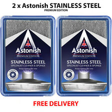 2x  Astonish Stainless Steel Cleaner Specialist Cleaner & Sponge 250g