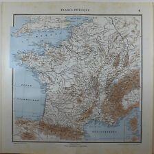 1929 ORIGINAL MAP ~ FRANCE BRETAGNE PYRENEES TOULOUSE LYON ALPS PARIS
