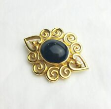 Vintage brass gold tone cameo brooch pin purple glass cabochon England
