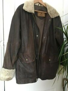 MILAN real leather flying jacket, sheepskin collar and cuffs, size 16